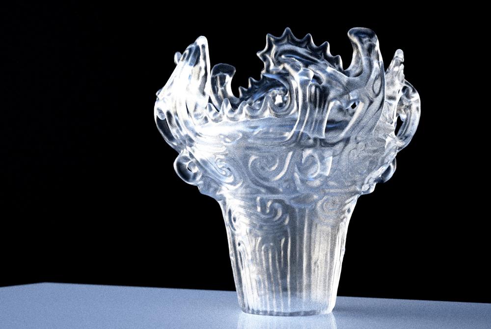 ガラスの縄文土器 これはこれでとても神秘的。